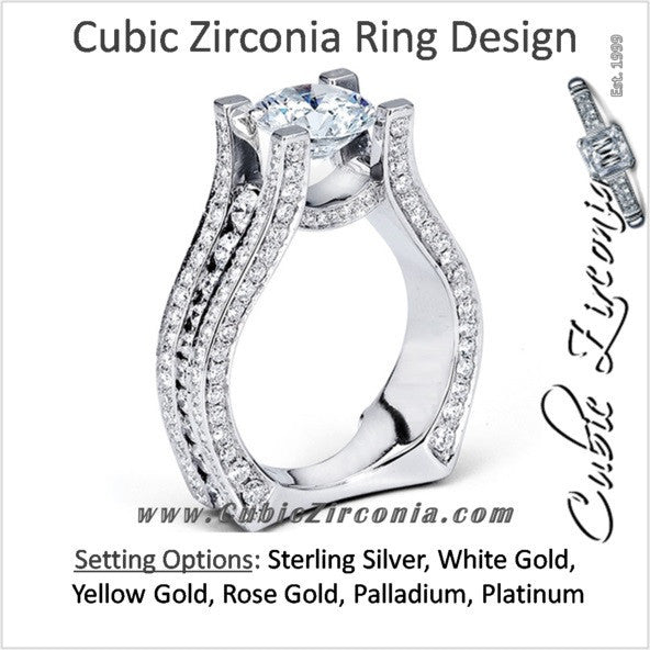 Cubic Zirconia Engagement Ring- The Alina (3 Carat European-style Pave)