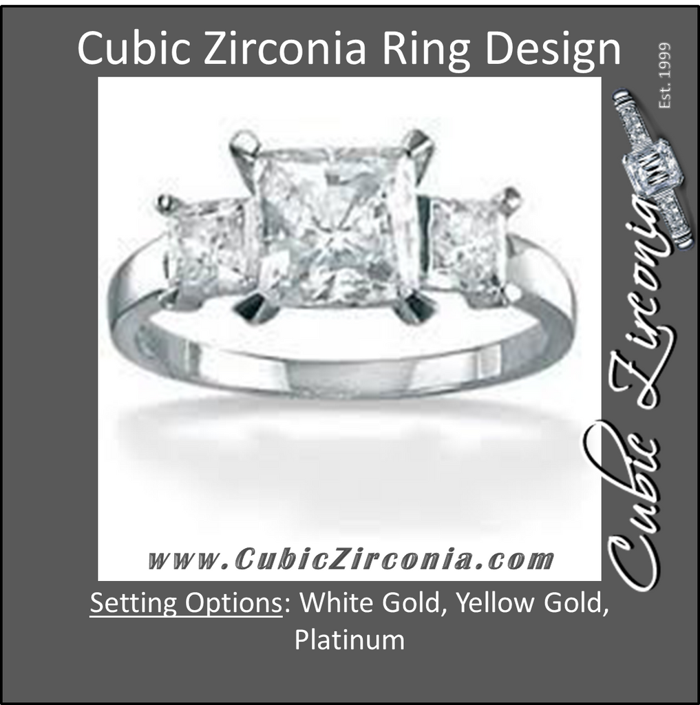 Cubic Zirconia Engagement Ring- The Clara (3 TCW 3-Stone Princess Cut)