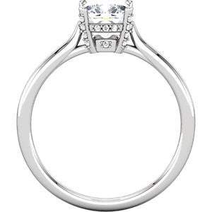 Cubic Zirconia Engagement Ring- The Antoinette (1.34 TCW Cushion Cut with Under-Halo and Accented Prongs)