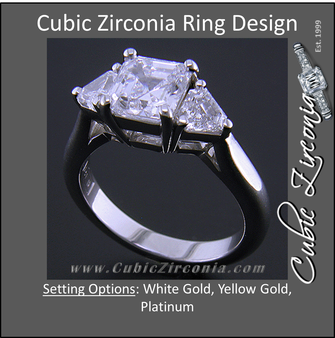 7f9ed46d8794f Cubic Zirconia Engagement Ring- The Welden (Cathedral-Set Asscher Cut 3  Stone with 2 Flanking Trillion Accents)