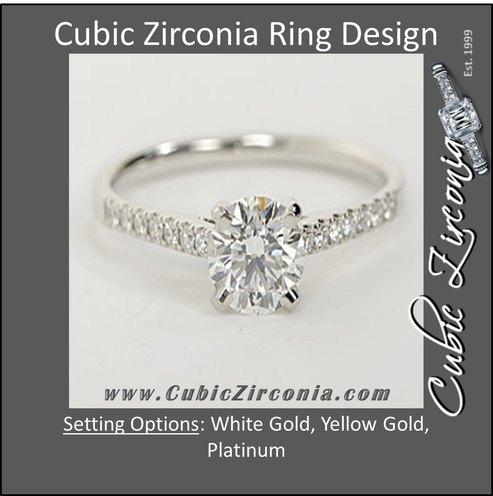 Cubic Zirconia Engagement Ring- The ________ Naming Rights 1187 (2 Carat Round Cut with Pavé Band)