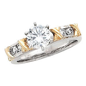 "Cubic Zirconia Engagement Ring- The Blair (Customizable 5-stone with Hand-Engraved ""X""'s and Round Channel)"