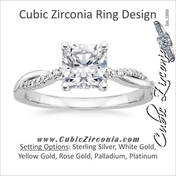 Cubic Zirconia Engagement Ring The Naming Rights 1205 1 10 Tcw Cushion Cut With Twisted Pave 3 Sided Split Band