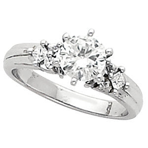Cubic Zirconia Engagement Ring- The Amelia (Customizable 7-stone with Round Tri-cluster Accents)