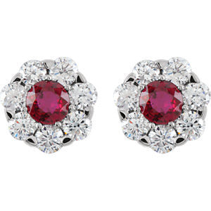 Cubic Zirconia Earrings- Round Center Cluster