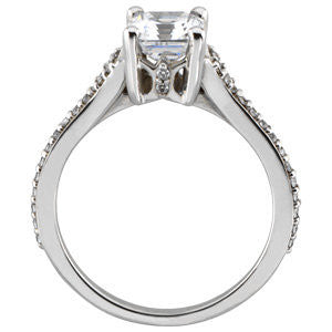 Cubic Zirconia Engagement Ring- The Burgundy (Asscher Cut Vintage Style w/ Petite Pavé Band)