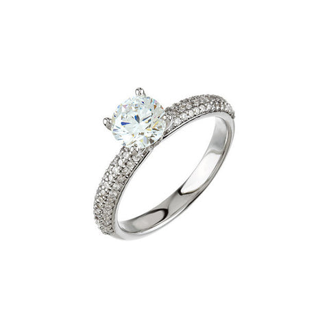 Cubic Zirconia Engagement Ring- The Brianna (Pavé Band with Peekaboo Side Stone)