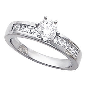 Cubic Zirconia Engagement Ring- The Dianna (Customizable 9-stone Princess Channel)