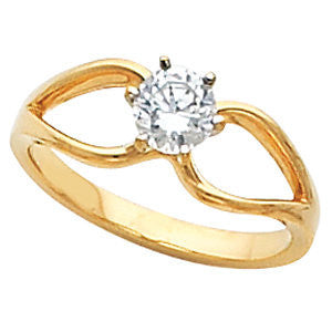 "Cubic Zirconia Engagement Ring- The Faith (Customizable ""Angel Wings"" Split-Band Solitaire)"