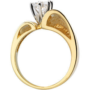 Cubic Zirconia Engagement Ring- The Caitlin (Customizable Wide Ultra-modern Asymmetrical Solitaire)