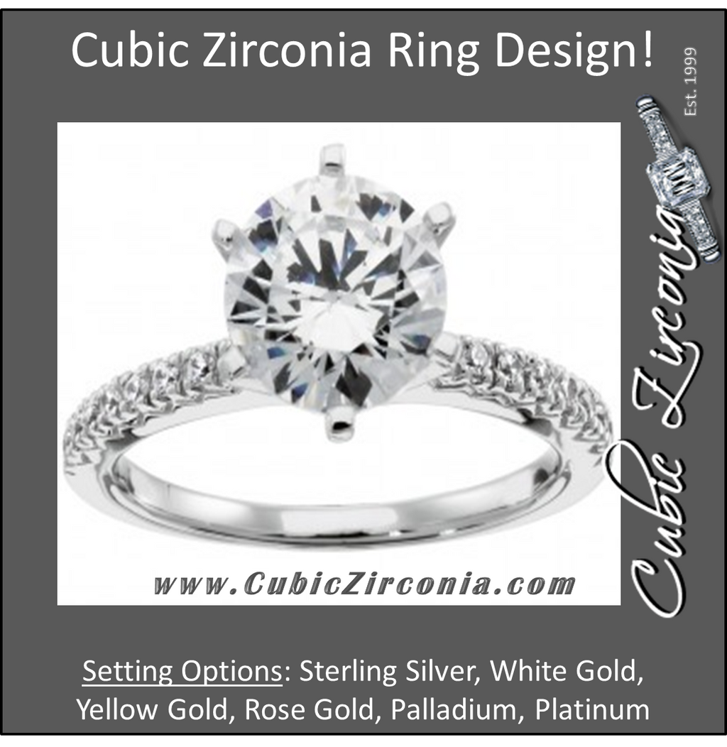 Cubic Zirconia Engagement Ring- The Alice (High-Set Round Cut Six Prongs Solitaire with Pavé Band)