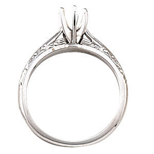 Cubic Zirconia Engagement Ring- The Debra (Customizable Hand-engraved Cathedral Solitaire)