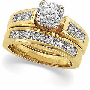 CZ Wedding Set, Style 12-658 featuring The Audra Engagement Ring (Customizable Princess Channel)