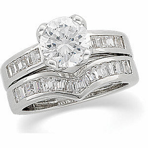 Cubic Zirconia Anniversary Ring Band, Style 05-07 (1.50 TCW V-Shaped Baguette Channel)