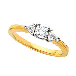 Cubic Zirconia Engagement Ring- The Randi (3-stone Round and Triangle Cut with Two-tone Option)