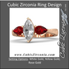 Cubic Zirconia Engagement Ring- The ________ Naming Rights 1272 (1.75 TCW Three-Stone Marquise and Pear Cut with Hand-Engraved Band)