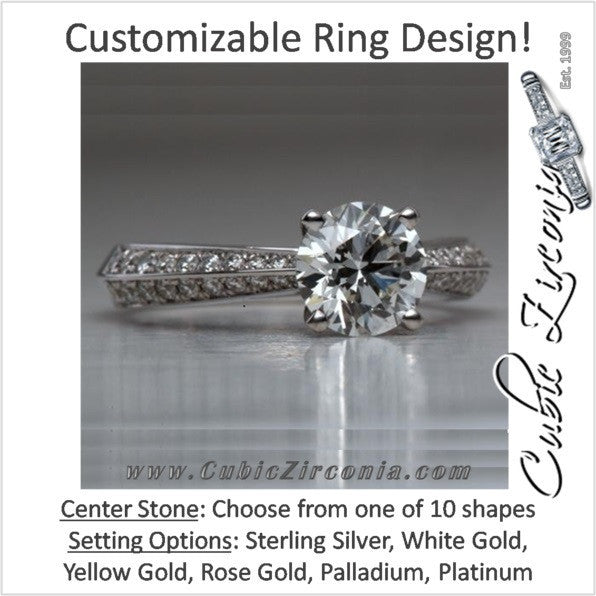 Cubic Zirconia Engagement Ring- The ________ Naming Rights 1284 (Customizable Centerstone with Tapered Pave Band)