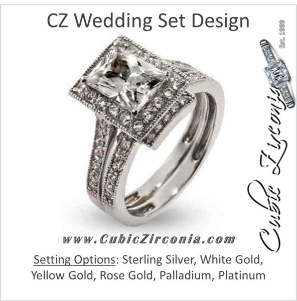 CZ Wedding Set, Style 12-88 feat The Mya Engagement Ring (3.25 TCW Emerald Cut Halo with Vintage Filigree Channel Setting)