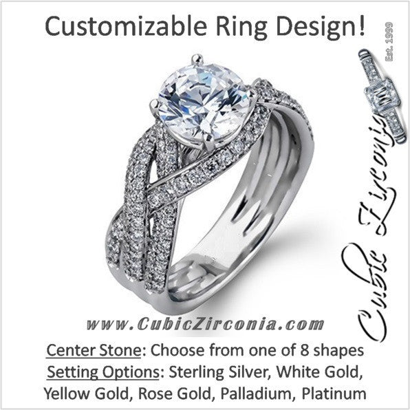 Cubic Zirconia Engagement Ring- The ________ Naming Rights 1290 Customizable Ribbon Pave Braided Shank Split Band)