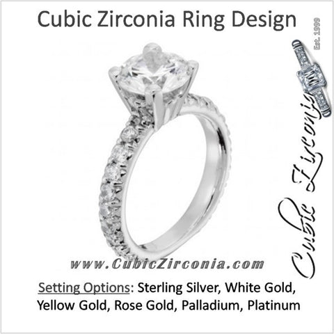 Cubic Zirconia Engagement Ring- The ________ Naming Rights 1302 (3.3 TCW Accented Solitaire with Round Prong Eternity Band)