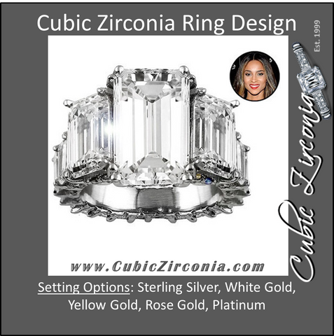 Cubic Zirconia Engagement Ring- 10.75 TCW Celebrity Replica Ciara's Ring
