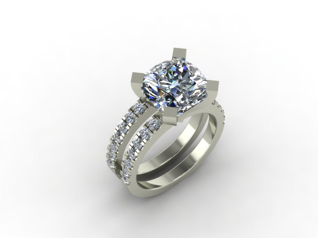 CZ Wedding Set with 2 CT Cushion Cut Engagement Tiffany Novo