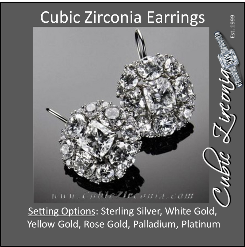 Cubic Zirconia Earrings- Celebrity Replica Cushion Center with Round Halo Cluster Dangle Earring Set