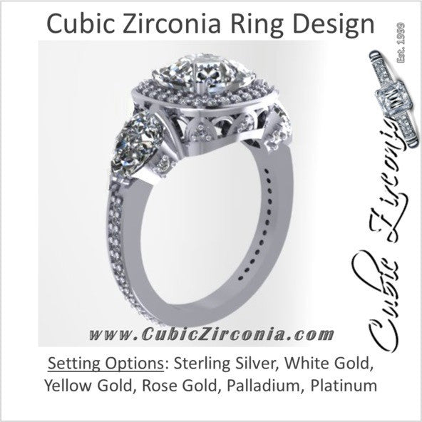 Cubic Zirconia Engagement Ring The Lori Blue 4 14 Carat Tcw Cushion Cut Halo With Pear Cut And Pave Accents
