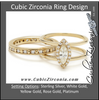 CZ Wedding Set, Double Banded Harness Ring with Round Channel Hand-Engraved Wedding Band
