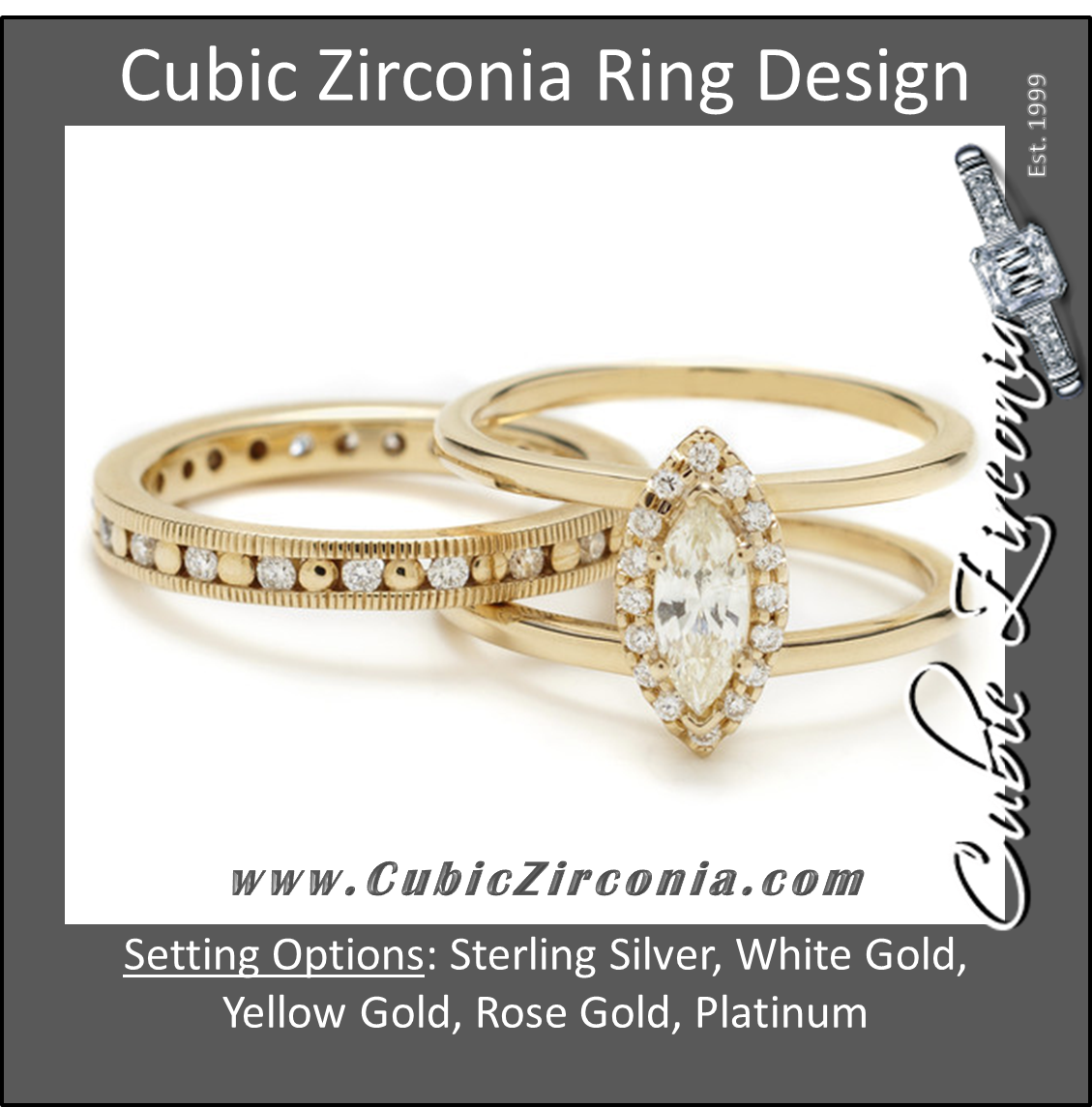 CZ Wedding Set Double Banded Harness Ring With Round Channel Hand Engraved Band
