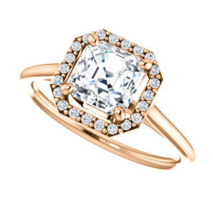 Cubic Zirconia Engagement Ring- The Patrice (Customizable Cathedral-Halo Asscher Cut with Thin Band)