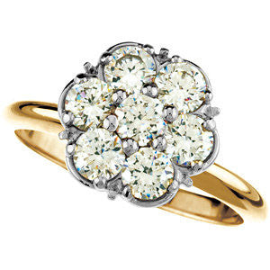 Cubic Zirconia Engagement Ring- The Ann (7-Stone Cluster-Style Thin Band Two-Tone Option)