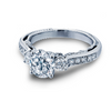 Cubic Zirconia Engagement Ring- The ________ Naming Rights 1415 (Three-Stone Ring with Side Stone Channel Accents and Carved Band)