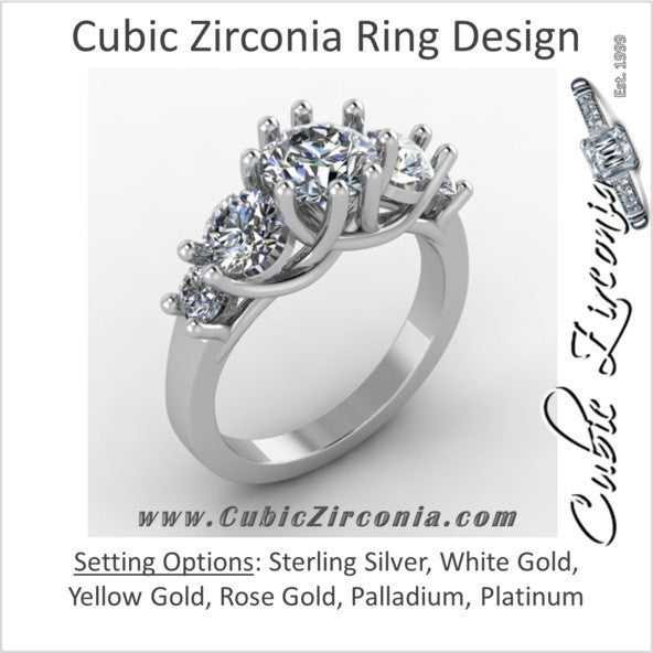 Cubic Zirconia Engagement Ring- 4.5 Carat TCW 5-Stone Round Cut Woven Prongs