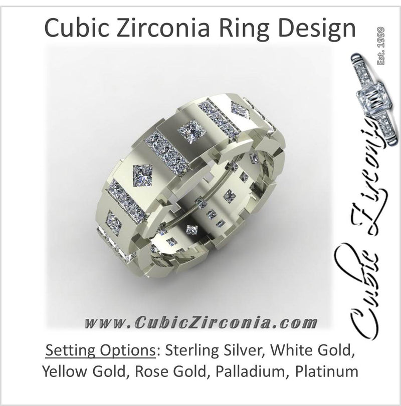 Cubic Zirconia Mens Wedding Band Square Link Design With Channel And Bezel Stones