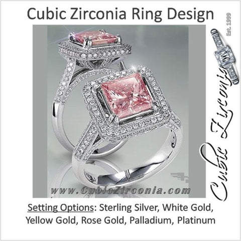Cubic Zirconia Engagement Ring- The ________ Naming Rights 1455 (2.1 Carat Pink Princess Halo with Accented Prongs)