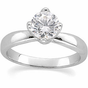 Cubic Zirconia Engagement Ring- The Lashay (Round or Asscher 4-Prong Tulipset® Solitaire Ring)