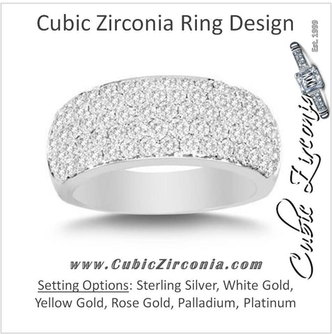 Cubic Zirconia Anniversary Ring Band, Style 1537 (Five Row Round Cut Wide Band)