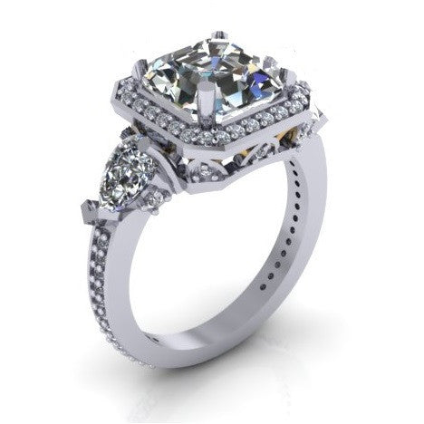 Cubic Zirconia Engagement Ring- The Lori Blue (4.04 Carat TCW Asscher Cut Halo with Pear Cut and Pave Accents)
