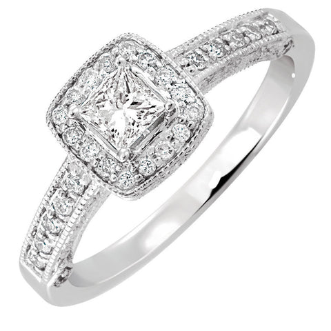 Cubic Zirconia Engagement Ring- The ________ Naming Rights 1575 (0.82 TCW Cushion Cut Halo with Antique Style Engraving)