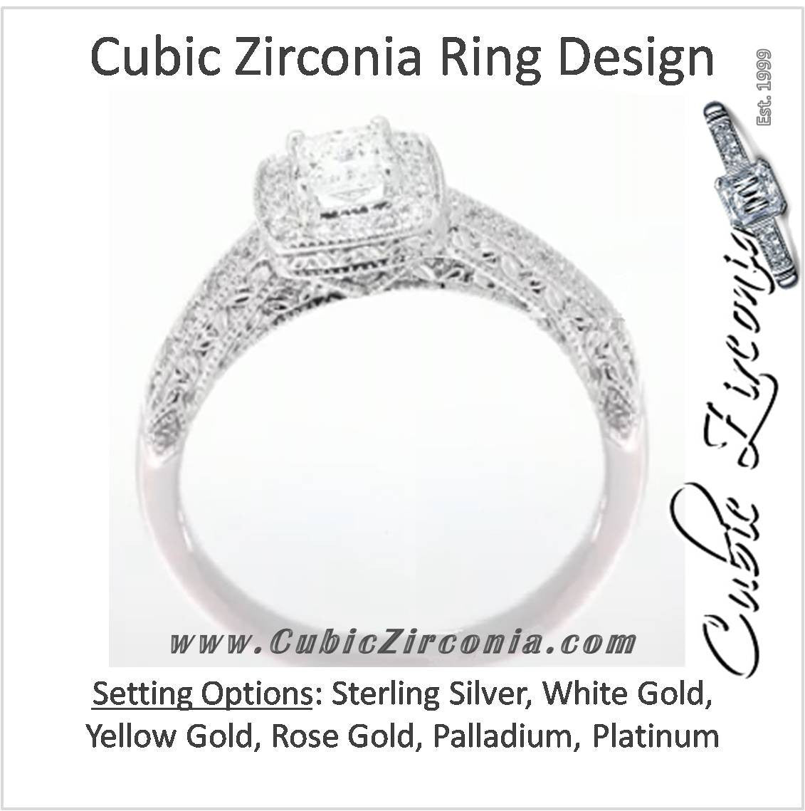 da73cae3e5f5c Cubic Zirconia Engagement Ring- The ________ Naming Rights 1575 (0.82 TCW  Cushion Cut Halo with Antique Style Engraving)