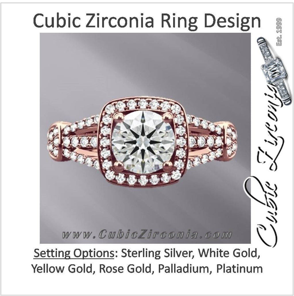 Cubic Zirconia Engagement Ring- The ________ Naming Rights 1583 (Round Cut or Oval Cut Squared Halo with Split Band Accents)