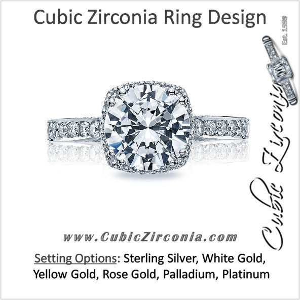 Cubic Zirconia Engagement Ring- The ________ Naming Rights 1600 (2.90 TCW Round Cut Halo with Woven Prong Accents)