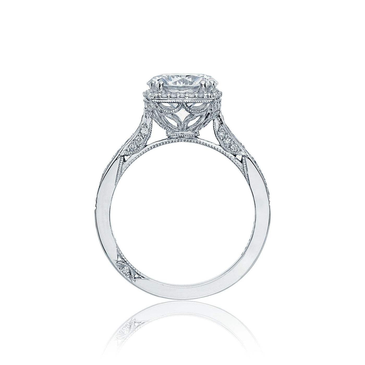 0ac544600 Cubic Zirconia Engagement Ring- The        Naming Rights 1600 (2.90 TCW  Round Cut Halo with Woven Prong Accents)