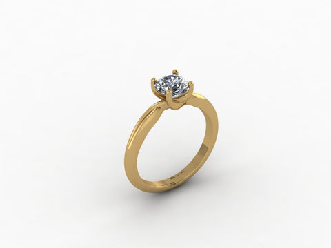 *Clearance* Cubic Zirconia Engagement Ring- 0.75 Carat Round with Split Twisted Band in 14K Yellow Gold