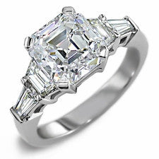 Cubic Zirconia Engagement Ring- The ________ Naming Rights 1642 (1.02 TCW 5-Stone Asscher Cut with Trapezoid and Baguette Accents)