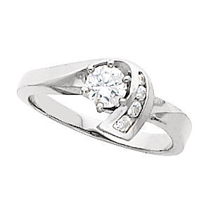 Cubic Zirconia Engagement Ring- The Georgia (Customizable 5-stone with Round Vertical Channel Accents)