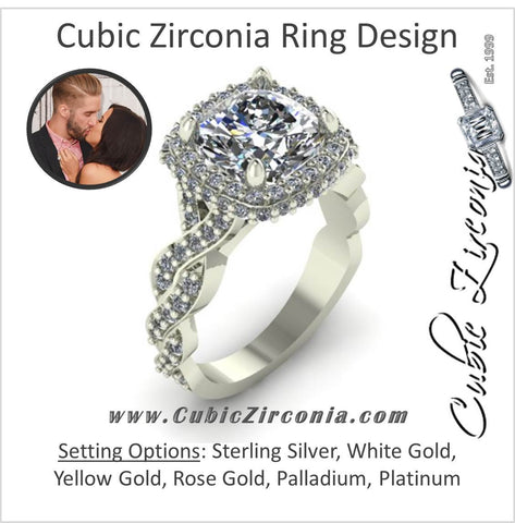 Cubic Zirconia Engagement Ring- 4.15 TCW Celebrity Replica Kaitlyn Bristowe's Ring