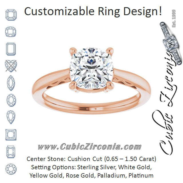 Cubic Zirconia Engagement Ring- The Abbey Ro (Customizable Cushion Cut Solitaire with 'Incomplete' Decorations)