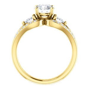 Cubic Zirconia Engagement Ring- The Karen (Customizable Enhanced 3-stone Design with Round Cut Center, Dual Trillion Accents and Wide Pavé-Split Band)